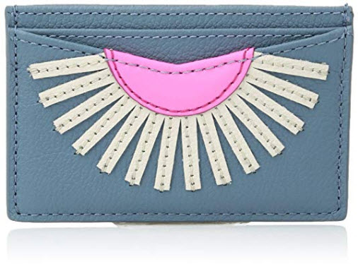 Fossil Women's Leather Card Case Wallet faded indigo