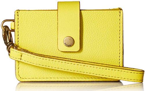Fossil Women's Mini Tab Wristlet Wallet, bright lemon