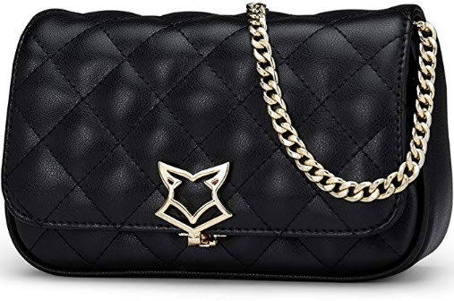 FOXER Women Crossbody Bag Leather Shoulder Messenger Bag Quilted Bag Clearance Sale, black 2