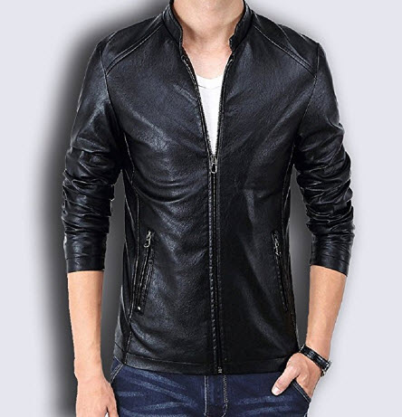 FoxWord Winter PU Leather Men Jacket Standing Collar Jackets Coat.