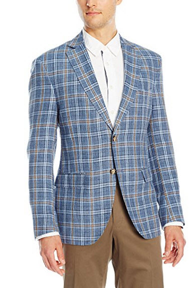 Franklin Tailored Men's Summer Delave Linen Windowpane Newton Sportcoat blue.