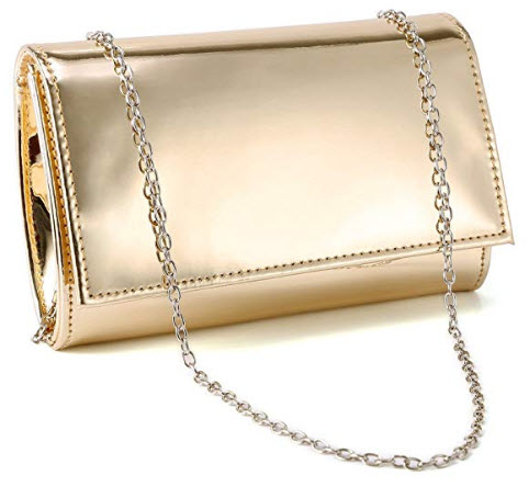 Fraulein38 Shiny High-Gloss Patent Leather Prom Clutch Women Handbag Shoulder Bag, gold