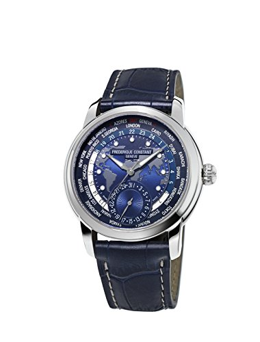 Frederique Constant Men's FC718NWM4H6 Worldtimer Automatic Watch With Blue Leather Band