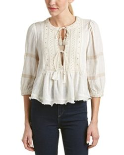 Free People Womens The Wild Life Gauze Studded Peasant Top