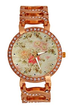 French Floral Toile Women's Wrist Watch Analog Quartz with Chain Bracelet Band Rose Gold T ...