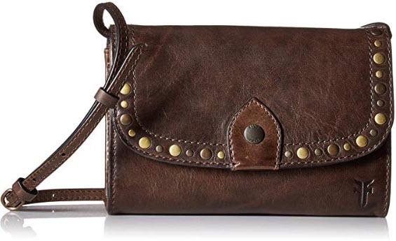FRYE Melissa Stud Wallet Crossbody Clutch Leather Bag slate