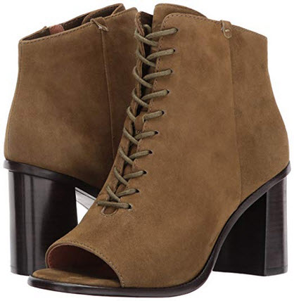 FRYE Women's Amy Peep Lace Boot khaki suede