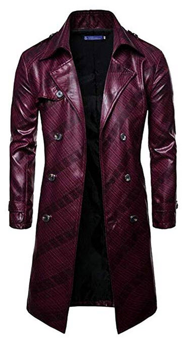 Fubotevic Men's Belted Pu Leather Double Breasted Stylish Long Trench Coat Jacket Overcoat ...