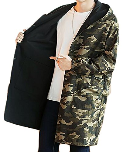 Fulok Mens Winter Camouflage Single Breasted Hoodie Trench Coats Overcoat