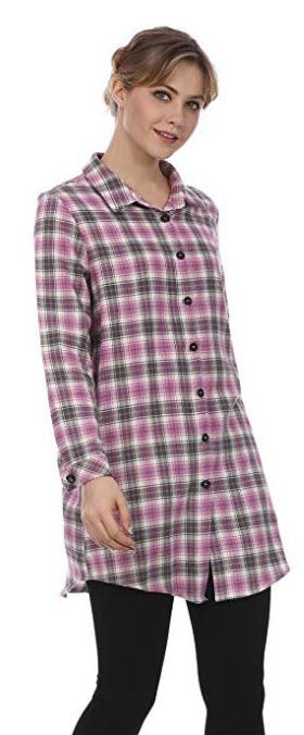 FURAMI Women's Plaid Button Casual Flannel Shirt Dress Long Sleeve With Pockets purple