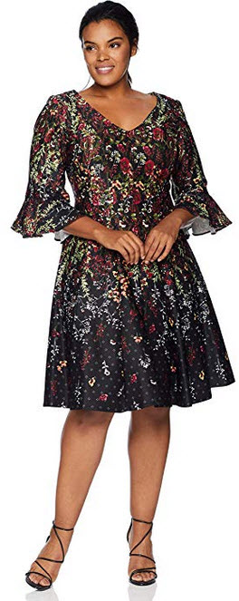 Gabby Skye Women's Plus Size 3/4 Bell Sleeve V-Neck Scuba Fit and Flare Dress black/cranberry