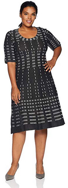 Gabby Skye Womens Plus Size Elbow Sleeve Scoop Neck Sweater Fit & Flare Dress heather graphi ...