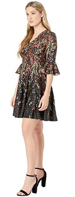 Gabby Skye Womens three quarter Bell Sleeve V-Neck Scuba Fit Flare Dress black cranberry