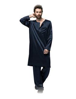 Galabiyyas Style Long Sleeves Silk Sleep Robe For Man 22 Momme by Fairylotus