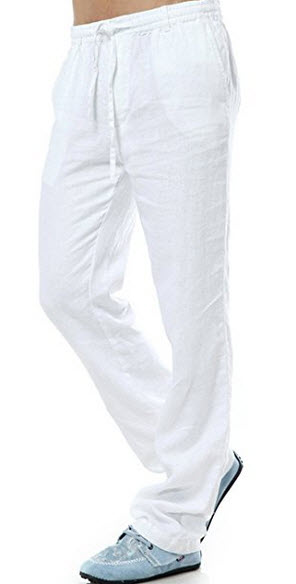 Gameyly Men's 100% Linen Solid Drawstring Casual Pants Trousers .
