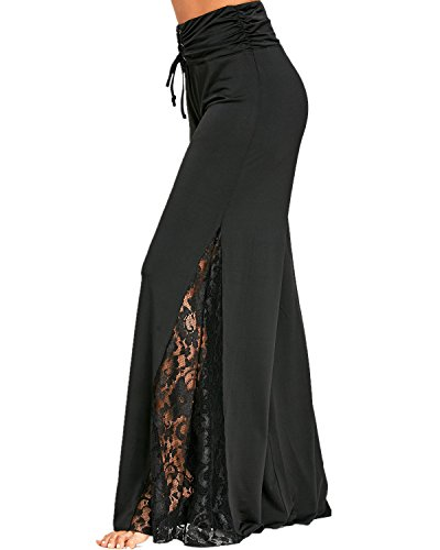 GAMISS Womens Side Slit Wide Leg Palazzo Pants High Waisted Lace Insert
