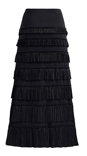 GATHY Women's 7 Tiered Boho Layered Pleated Ruffles Waterfall Maxi Skirt black