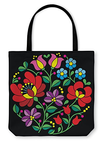 Gear New Shoulder Tote Hand Bag, Kalocsai Embroidery Hungarian Round Floral Folk Pattern On Blac ...