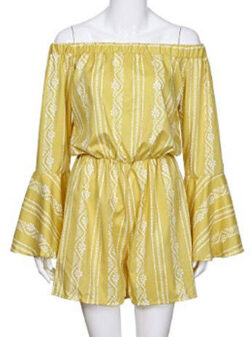Geetobby Women's Summer Striped Jumpsuit Casual Rompers Elastic Waist Playsuit, yellow 2