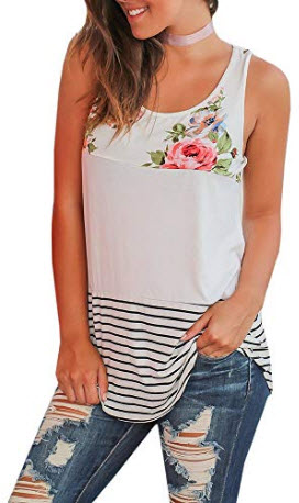 Gemijack Womens Tank Tops Floral Summer Sleeveless Casual Loose Fit Color Block Shirts, white