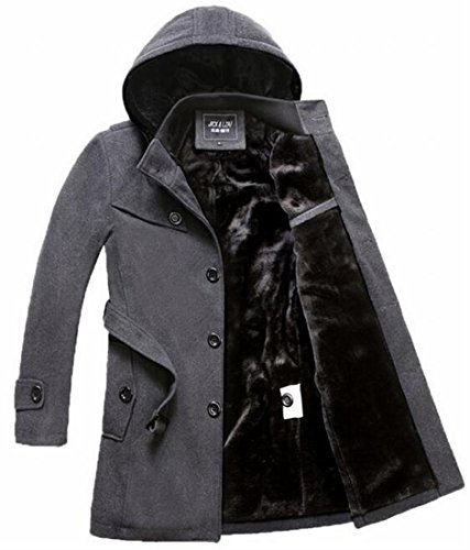 Generic Men's Winter Fleece Lined Hooded Trench Coat
