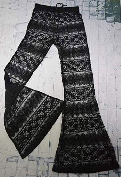 Generic Womens Crochet Lace Through High Waist Loose Palazzo Pants Trousers, black