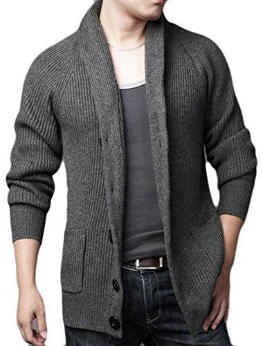 GenericMen Generic Mens Slim Open Front Long Sleeve Shawl Collar Cardigan