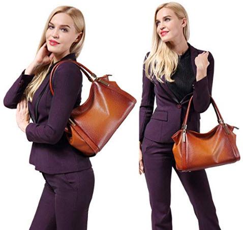 Genuine Leather Handbags for Women Vintage Shoulder Bag Tote DAIZU Cowhide Leather Purse, brown