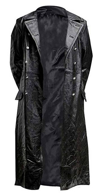 Chicago Fashions German Classic Military Officer Black Leather Trench Coat