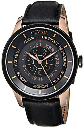 Gevril Columbus Circle Mens Swiss Automatic Black Leather Strap Watch, (Model: 2004)