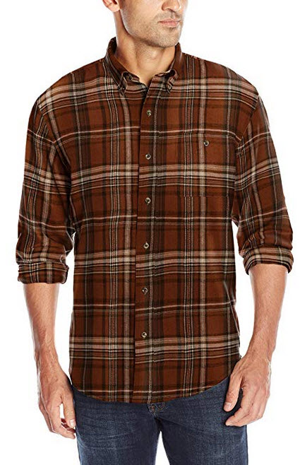 G.H. Bass & Co. Men's Fireside Flannel Long Sleeve Button Down Shirt arabian spice