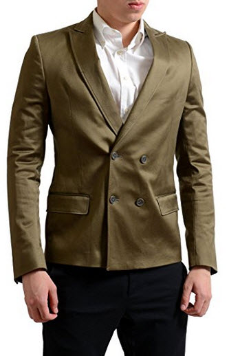 Gianfranco Ferre GF Men's Green Double Breasted Blazer Sport Coat US 38 IT 48.