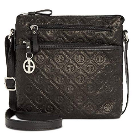Giani Bernini Embossed Logo Crossbody (Black)