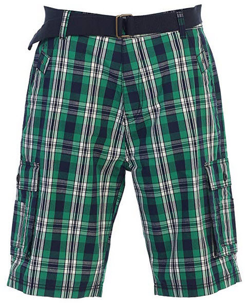 Gioberti Men's Plaid Belted Cargo Shorts green black