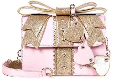 GK-O Kawaii Japanese Sweet Lolita Cute Love Bow Girl PU Messenger Bag Shoulder Bags, pink