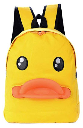 GK-O Women Girl Yellow Ducks Canvas Backpack Shoulder Bag Rucksack Travel Bag