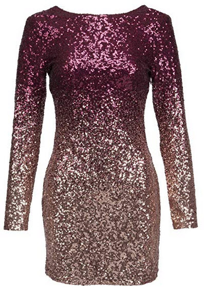 Glam and Gloria Womens Ombre Glitter Sequin Longsleeve Cocktail Dress Burgundy