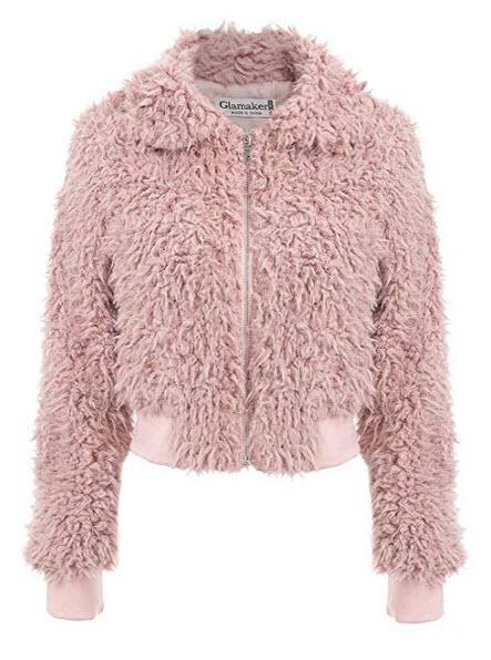 Glamaker Womens Warm Open Front Shaggy Long Sleeve Faux Fur Coat Zipper Jacket pink