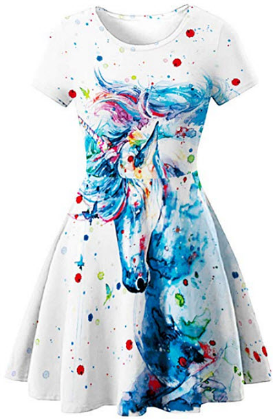 GLUDEAR Women's 3D Print Short Sleeve Unique Casual Flared Midi Dress, unicorn paint