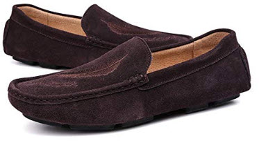 Gobling Men's Casual Driving Loafers Suede Sanding Style Slip on Hollow Breathable Boat Sh ...