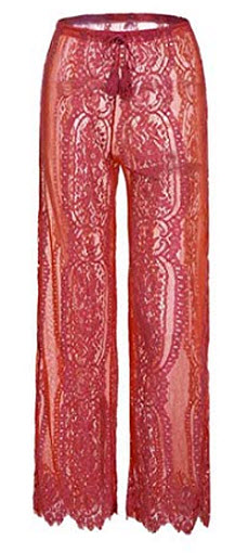 Gocgt Women's Lace Hollow Stretch Wide Leg Long Pants Palazzo Trousers, red