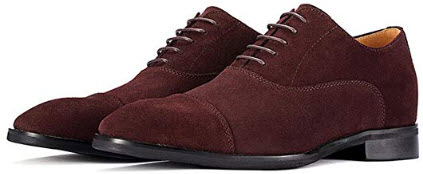 GOG Handmade Height Increasing Elevator Men's Suede Leather Casual Office Shoes Khaki wine red
