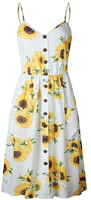 GOLDSTITCH Women's Dresses Summer Floral Bohemian Spaghetti Strap Button Down Swing Midi D ...