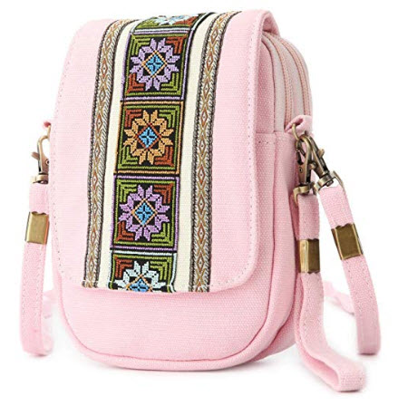 Goodhan Embroidery Canvas Crossbody Bag Cell phone Pouch Coin Purse pink
