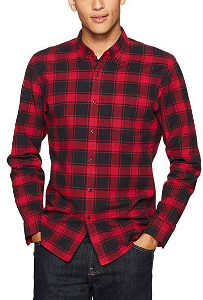 Goodthreads Men's Slim-fit Buffalo Plaid Oxford Shirt red chili
