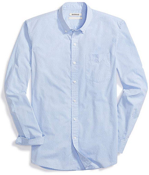 Goodthreads Men's Slim-fit Long-Sleeve Dot Print Shirt blue white