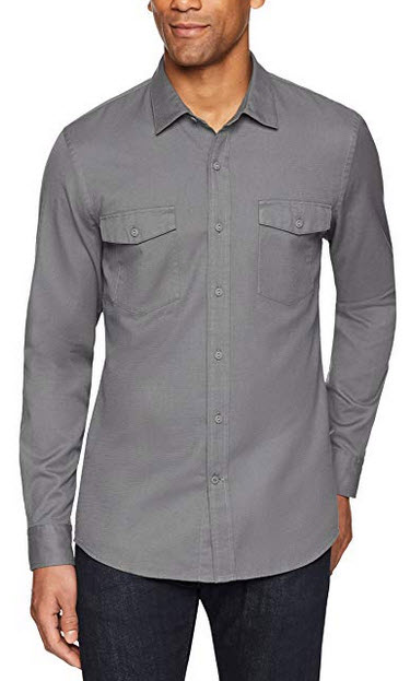 Goodthreads Mens Slim-Fit Long-Sleeve Ripstop Dobby Shirt gray