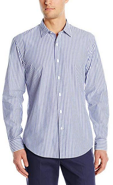 Goodthreads Men's Standard-Fit Long-Sleeve Banker Striped Shirt blue