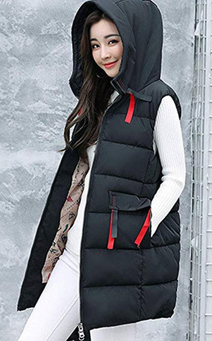 Gooket Womens Cotton Padded Zipper Front Quilted Puffer Long Down Vest Jacket with Hood black