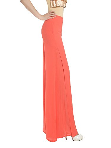 Gooket Women's High Waist Chiffon Wide Leg Comfortable Split Long Culottes Pants